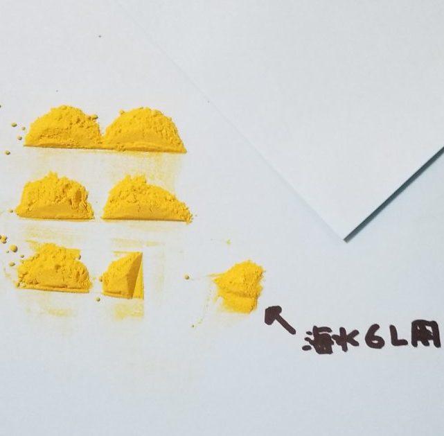 紙の上のGFG顆粒6分の1がさらに半分になっている